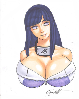 HINATA Original Art NARUTO Sexy BUSTY AND LUSTY by Chris Foulkes