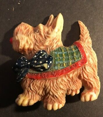 SALE!! VINTAGE CELLULOID SCOTTISH TERRIER w/ plaid coat and polka dot ribbon
