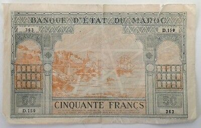 Morroco 50 Francs 1924 In VG to F Condition #KCS