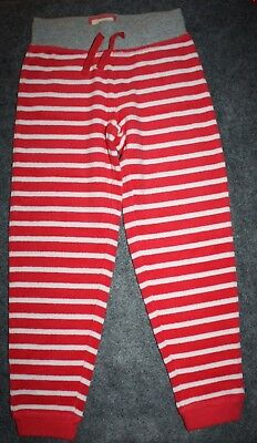 Mini Boden Pink & white Striped Towelling Joggers Pants Girls Size 6