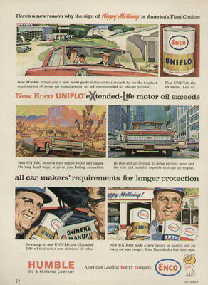 Vintage 1963 AD Print Humble Oil Co. Enco Oil Happy Motoring