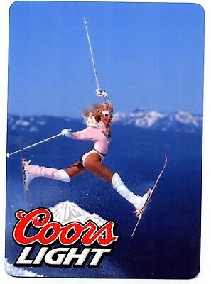 Coors Light  METAL Beer Sign -   Sexy Blonde Girl Skiing  -