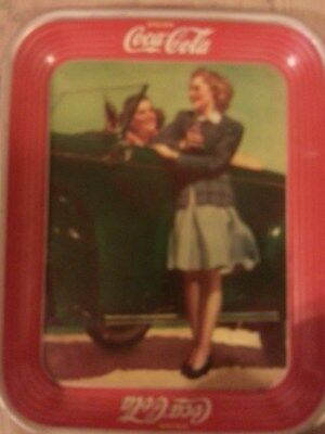 """Vintage 1942 """"drink Coca-Cola"""" Two Girls At Car Tin Tray"""