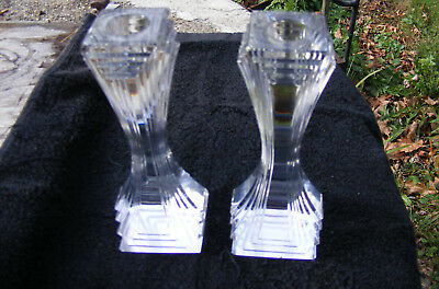 Vintage Pair Art Deco Crystal Candlesticks Candle Holders