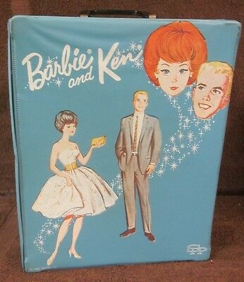 Vintage 1963 Blue Mattel Barbie And Ken Carry Case Doll Travel Trunk SPP