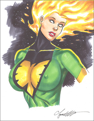 PHOENIX  Jean Grey Original Art Sexy BUSTY AND LUSTY by Chris Foulkes