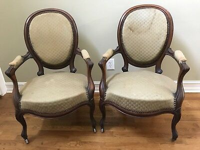 "PAIR OF ANTIQUE LOUIS 15th ARMCHAIRS, ""Medallion Back"", in need of reupholstery"