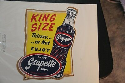 Large Vintage Original Grapette Soda Store Window Decal Unused Rare