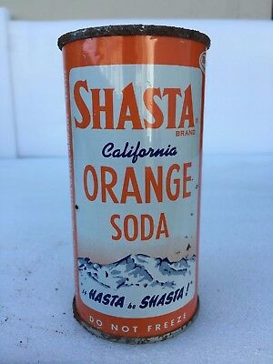 "10 oz Shasta California Orange Flat Top ""Do Not Freeze"" All Original Soda Can"