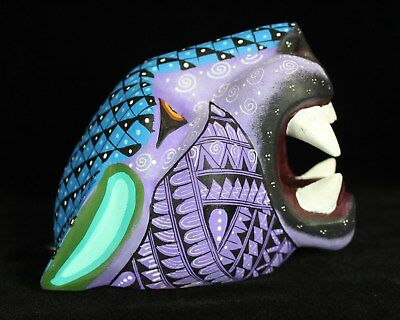#1 Alebrijes Jaguar Head Hand Carved & Painted Wood Oaxaca Mexican Folk Art