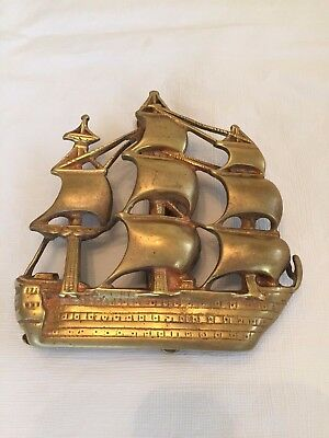 Vintage Solid Brass DOOR KNOCKER w/ Ship Design England LP & Co.