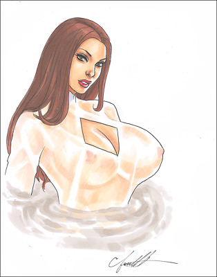 TALIA AL GHUL Original Art Sexy BUSTY AND LUSTY Lazarus Pit by Chris Foulkes