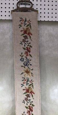 Antique Floral Embroidered Tapestry Bell Pull Brass Ends Wall Hanging Italy