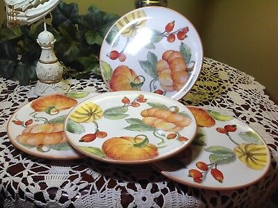 "CERAMICA (Made in Italy) Pumpkin/Gourd Fall (4) 8.5"" Salad Plates"