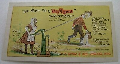 Antique Fe Myers & Bro Ashland Ohio Well Pump Farm Advertising Trade Card