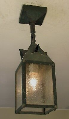 RESTORED! Antique Exterior Mission Arts and Crafts Copper Porch Light Fixture L4