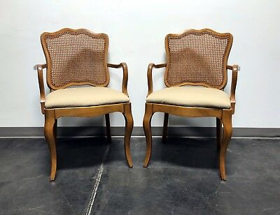 DAVIS CABINET Co Fleming Walnut French Provincial Cane Dining Arm Chairs - Pair
