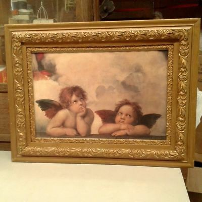 CHERUBS Picture Victorian Style Gold Wood Frame Ornate Vintage