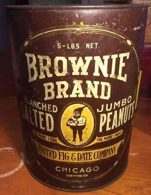 Vintage Brownie Brand Jumbo Salted Peanuts Tin Can Advertising Gnome Elf 5 Pound