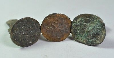 Lot of 3 ANTIQUE ISLAMIC OTTOMAN EMPIRE TURKISH MILITARY BRONZE SEALS.