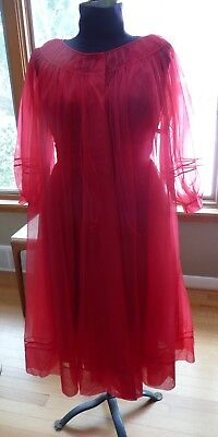 Vintage 60's Shadowline Red Chiffon Nightgown Robe Peignoir Sz. Medium Valentine