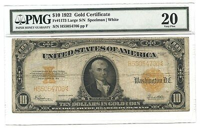 1922 $10 Large Gold Certificate, Fr#1173, PMG Very Fine 20, Speelman/White