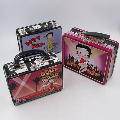 "Betty Boop Mini Metal Lunch Pails Lunchboxes 8x6x3"", 7x5x3"" Lot of 3"