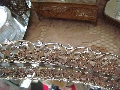 Vtg Hollywood Regency Gold Tone Reticulated Oval Mirror Perfume Vanity Tray #1