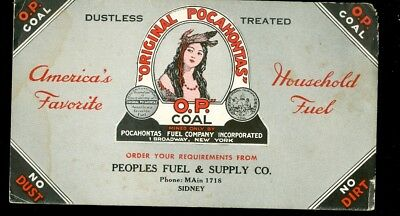 Blotter-Sidney, Ohio-Peoples Fuel & Supply Co.-Original Pocahontas Coal-Indian