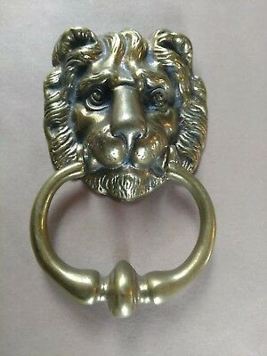 Peerage Brass Door Knocker, Lion Head. Made in England