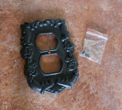 Cast Iron Metal Electrical Outlet Plate Cover Carved w/ Screws Vintage Antique