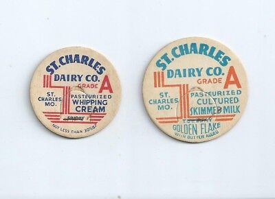 """Two different """"St. Charles Dairy Co."""" St. Charles, Mo. milk bottle caps."""