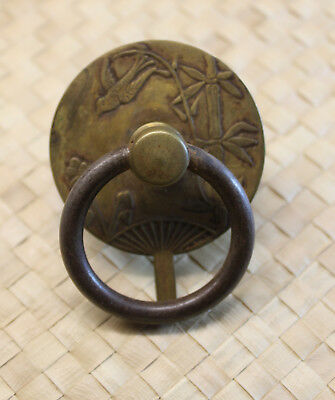 """Unique Small Antique Bronze/brass Drawer Pull Fan Shaped 2.5""""x2"""" W/ Bamboo, Bird"""
