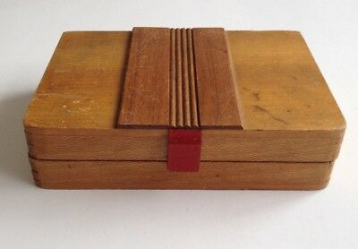 Art Deco Streamlined Geometric Wood Wooden Box 1920s 1930s Vintage Antique Small