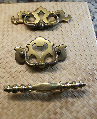 3 Different Vintage Brass Metal Drawer Pulls, Large And Ornate