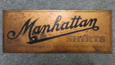 Vintage 1930's MANHATTAN SHIRTS Metal Advertising Sign Display Copper