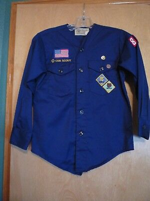 Vintage Blue Collarless Cub Scout Shirt BSA Boy Scout of America Youth Medium 12