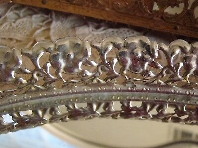 Vtg Hollywood Regency Gold Tone Reticulated Oval Mirror Perfume Vanity Tray #4