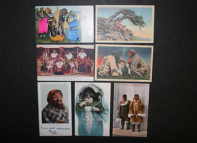 Mixed Lot of 7 Vintage Native American Indian Postcards Linen Embossed Etc