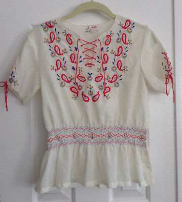 Vintage 70s Joy White Mexican Embroidered Peasant Top Women's XS/32 Blouse