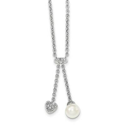 Sterling Silver 16in Dangling Synthetic CZ Heart and White FWC Pearl Necklace