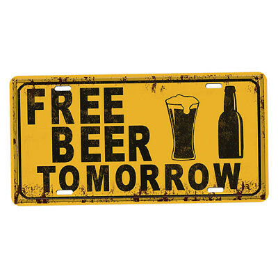 FREE BEER TOMORROW TIN SIGN metal wall decor diner Vintage Funny ...