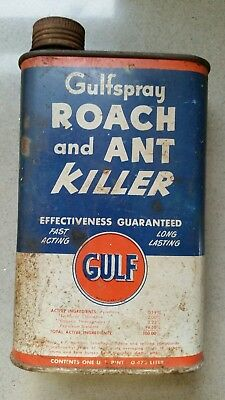 Gulf Oil Corp Gulfspray Roach and Ant Killer Vintage Tin Can 1 Pint Pittsburgh