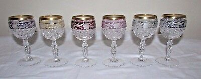 Set of 6 Different Color Bohemain/Czech Cut to Clear Crystal Cordials