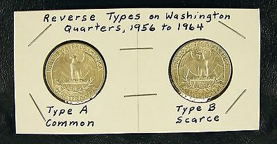 Nice Pair of 1964 Silver Quarters with Type A and Type B Reverses