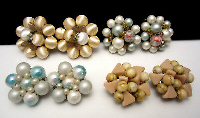"""Classic 50's Vintage 1"""" Clip On Cluster Earrings Lot - 4 Pairs A23"""