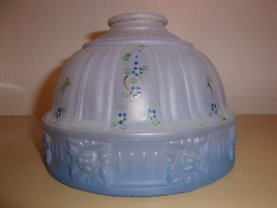 Antique Blue Flower Satin Frosted Glass Lamp Shade Electric Light Fixture
