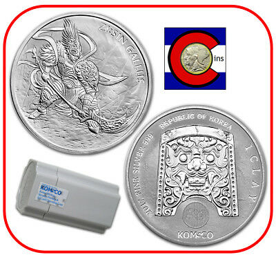 2017 South Korea ZI:SIN Gallus 1 oz 0.999 Silver Medal/Coin -- roll/tube of 25
