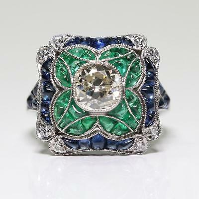 Antique Art Deco 925 Sterling Silver 2CT Sapphire & 1.30CT Emerald Floral Engage