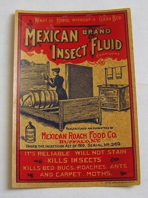 Great Vintage Bottle  Advertising Label Mexican Brand Insect Fluid, Buffalo, Ny
